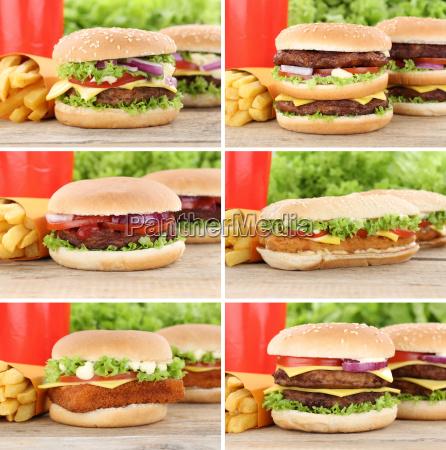 hamburger sammlung collage cheeseburger menu menue