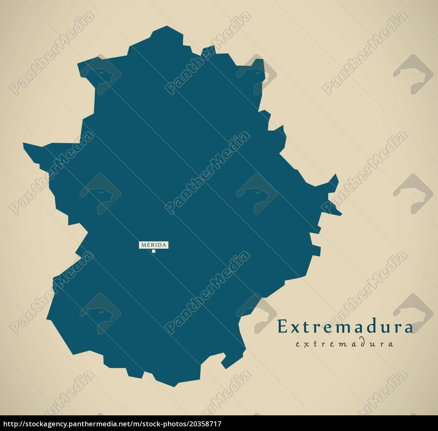 Moderne Karte Extremadura Spanien Es Illustration Stockfoto