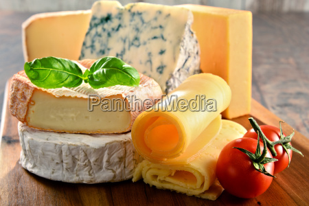 different sorts of cheese on kitchen