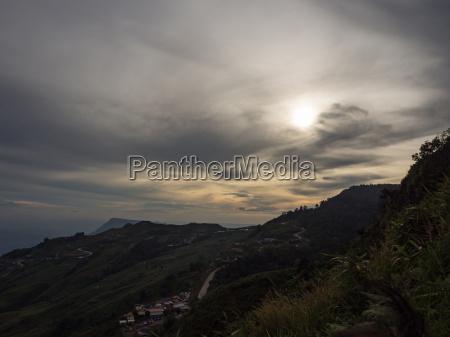 mountain beautiful sunset sky background landscape