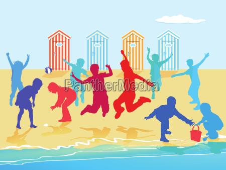 kinder, toben, und, spielen, am, strand - 20377733