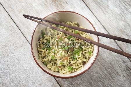 asian dried ramen noodles bowl top