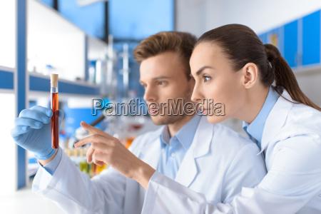 seitenansicht von konzentriertem wissenschaftler laborrohr pruefung