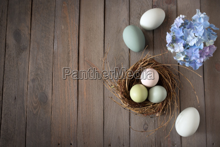 easter eggs in a nest with