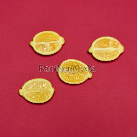 lemons on red background