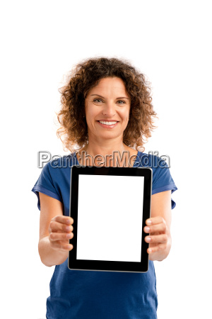 happy woman working with a tablet
