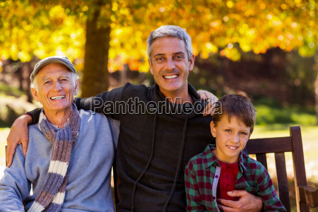 man with father and son sitting