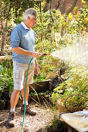 happy gardener watering plants from hose