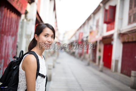 woman visit in macao old town