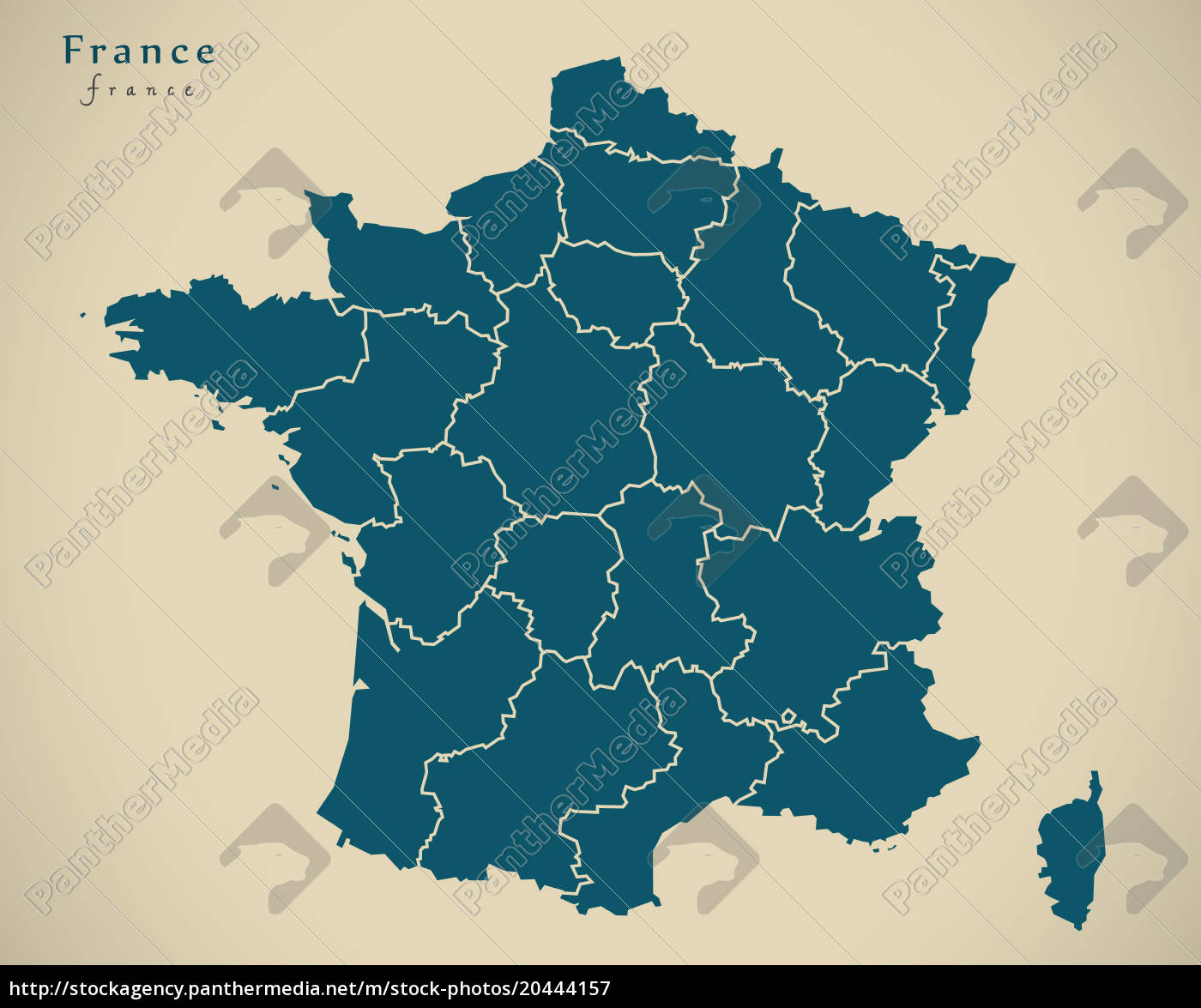 Regionen Frankreich Karte.Stockfoto 20444157 Moderne Karte Frankreich Mit Den Regionen Fr Illustration