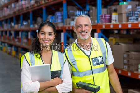 portrait of happy workers are smiling
