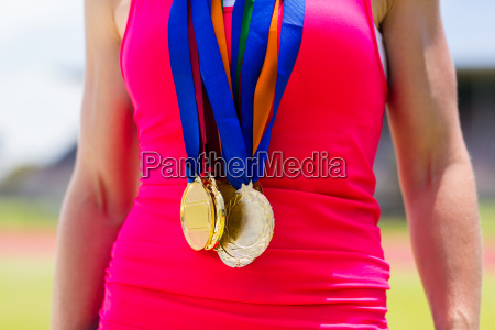 mid section of female athlete with