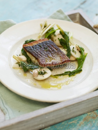 pan fried seabass pickled summer turnips