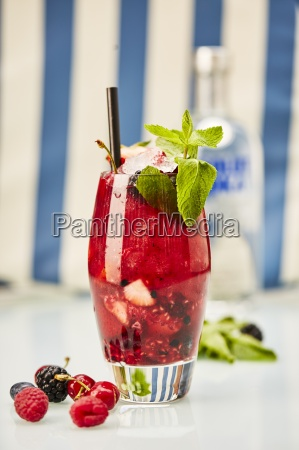 summer cocktail with fresh berries
