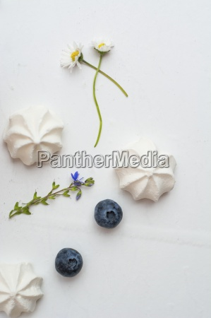 meringue gems blueberries and flowers