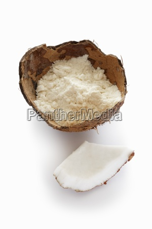 coconut flower in a coconut shell