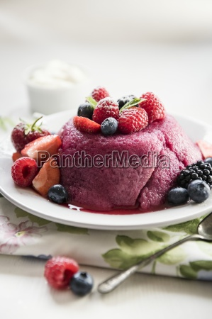 summer pudding on a plate with