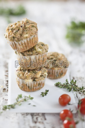 wholemeal spinach muffins with sheeps cheese