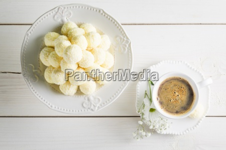a pile of coconut pralines with