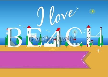 i love beach travel card