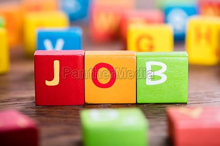 job word on colorful blocks