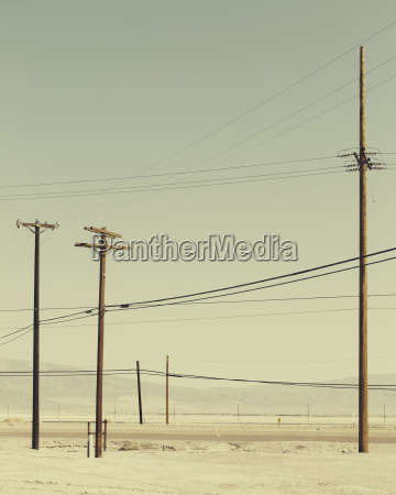 telephone poles and power lines near
