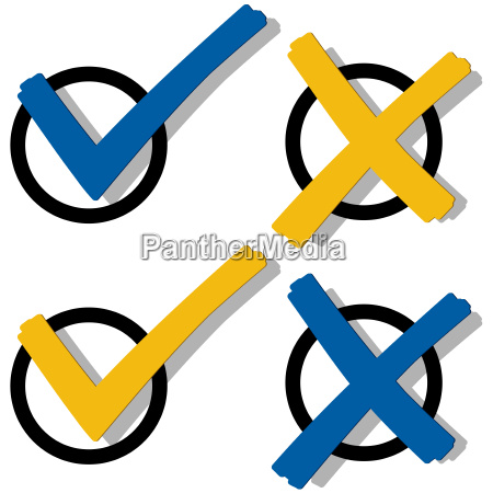 blue and yellow check mark and