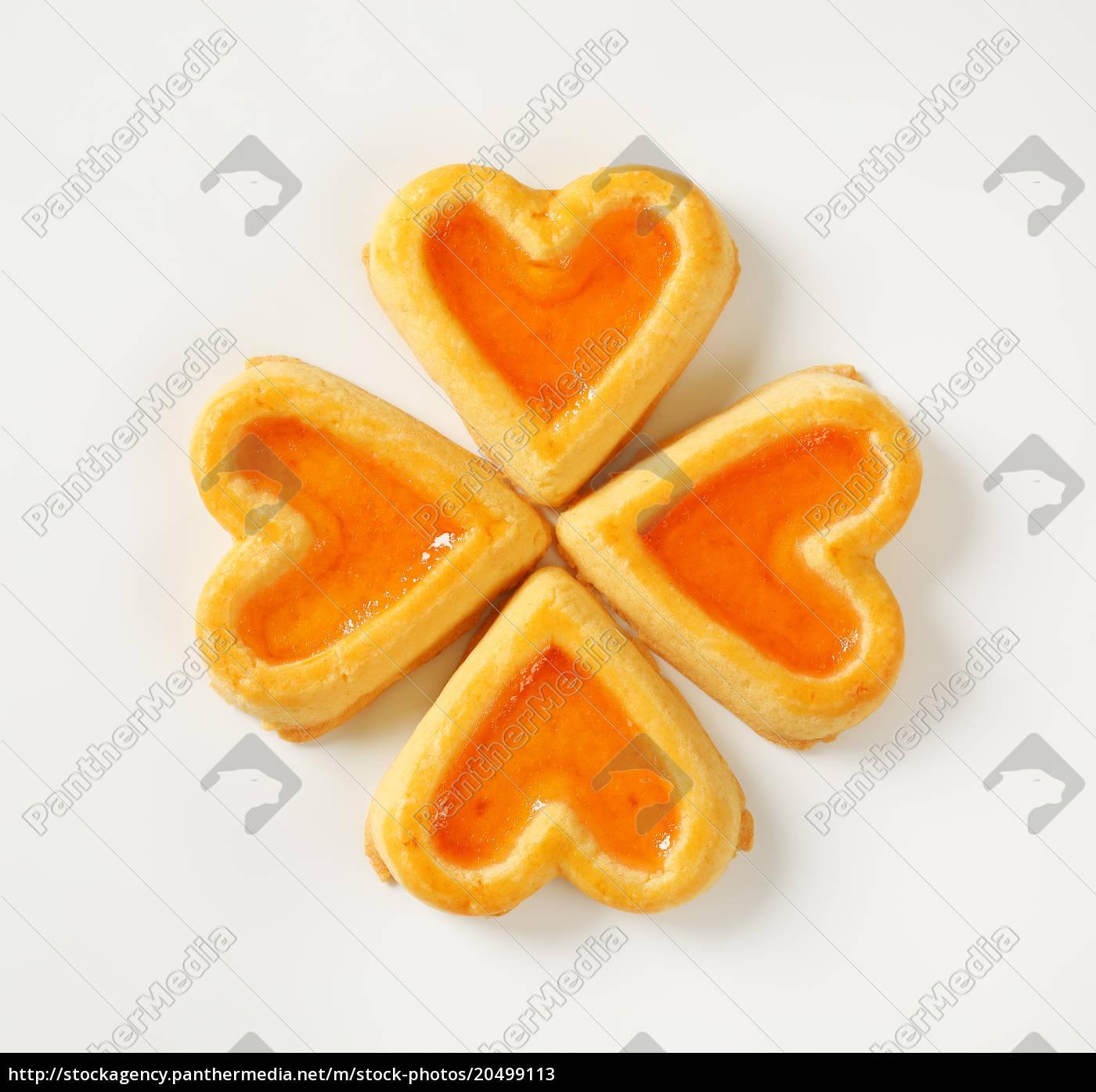 herzförmige, kekse, mit, marmelade - 20499113