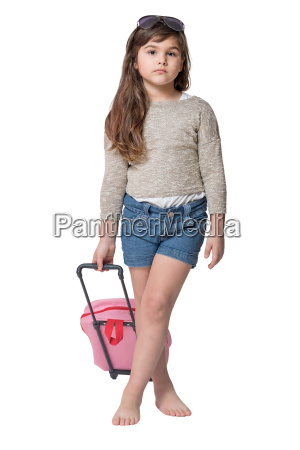 cool little girl holding baby pink