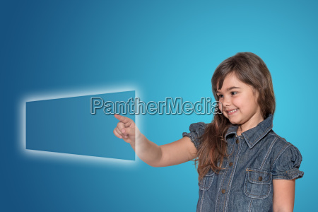 little girl and transparent rectangle touchscreen