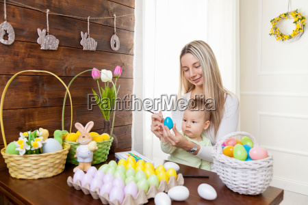 easter concept happy mother and her