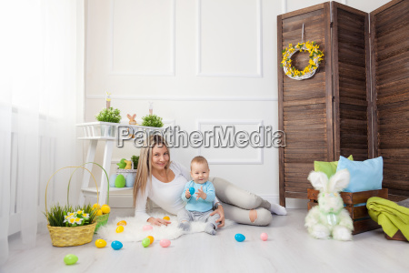 delighted mother and her child enjoying