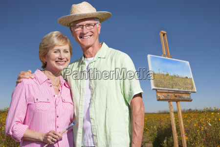 portrait of senior couple enjoying outdoor