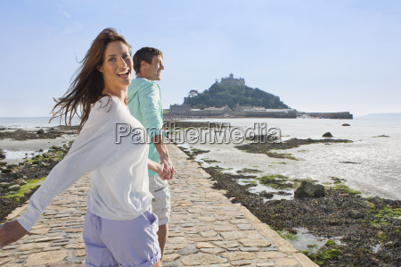 mature couple visiting st michaels mount