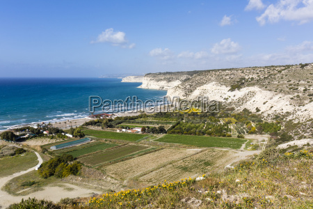 elevated view of steep coast from