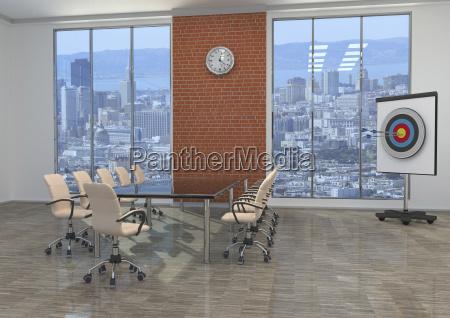 meeting room with target 3d rendering