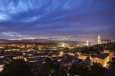 spain girona city view at evening