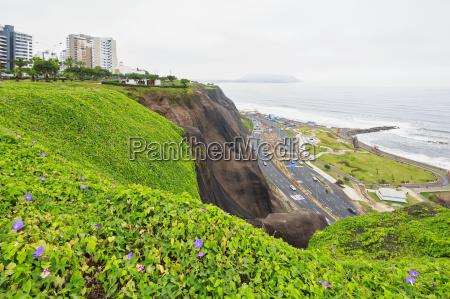 peru lima miraflores skyline steep coast