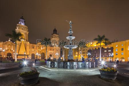 peru lima plaza de armas cathedral