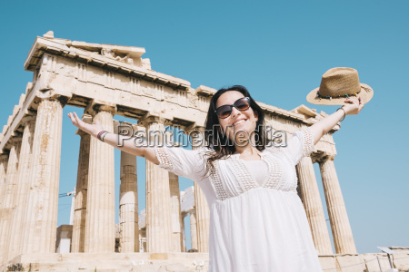 greece athens happy woman visiting the