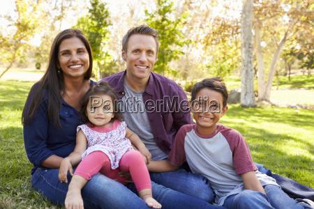 happy asian caucasian mixed race family