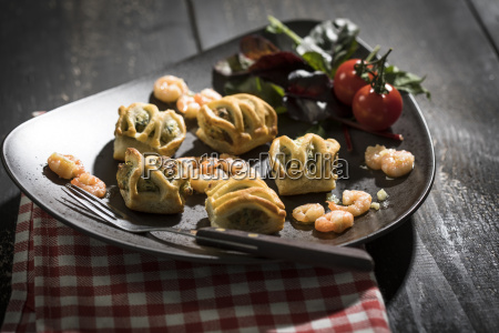 puff pastry filled with salmon and