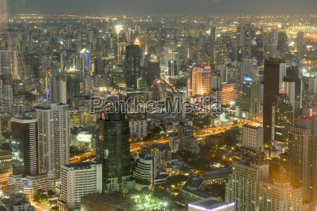 thailand bangkok cityscape by night seen