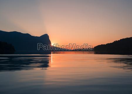 austria mondsee lake mondsee by sunset