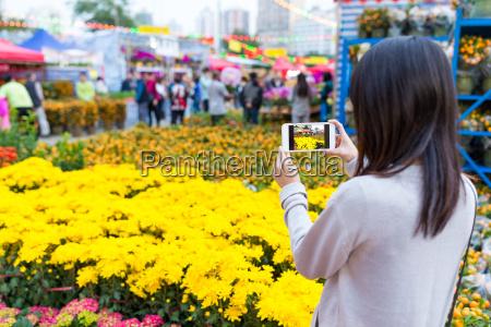 woman taking photo on flower in