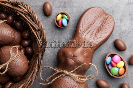 chocolate easter bunny and eggs on