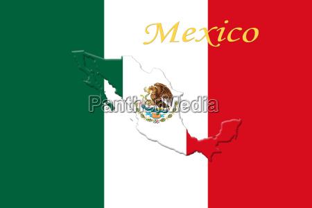 mexikanische nationalflagge mit adler wappen text