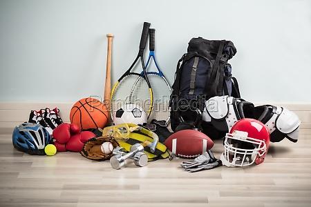 sport equipments on floor
