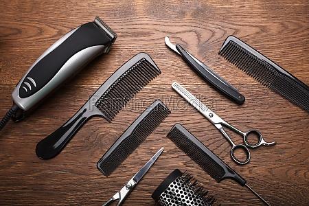 an hairdresser tools on desk