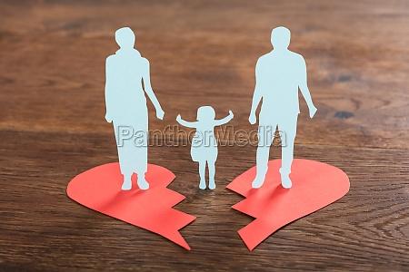 family paper cut on broken heart